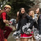 The Stanford Dollies prepare to excite the crowd at the Rudy's Bar-B-Q Pep Rally.