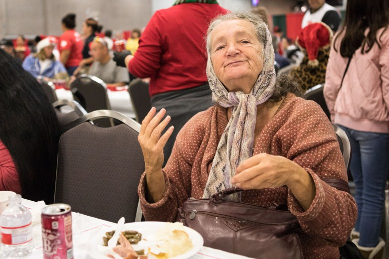 Karen Annette forgoes her green beans for the apple pie at the 25th annual H?E?B Feast of Sharing holiday dinner.