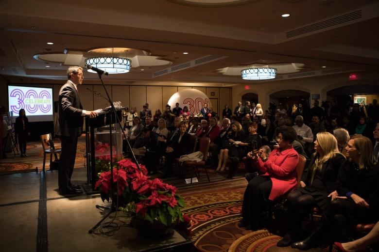 Mayor Ron Nirenberg makes an announcement regarding the Tricentennial at the Hilton Palacio del Rio.