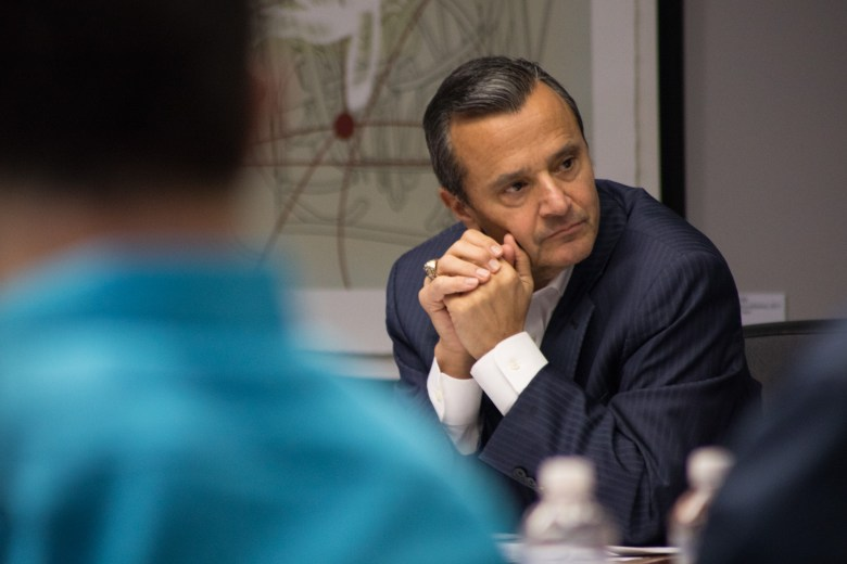 Tricentennial Commission Interim Executive Director Carlos Contreras listens to commissioners during a recent meeting.