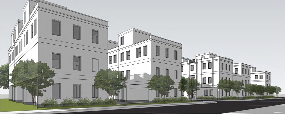 "A conceptual rendering of the ""brownstone"" townhomes proposed for the near Eastside on Center Street."