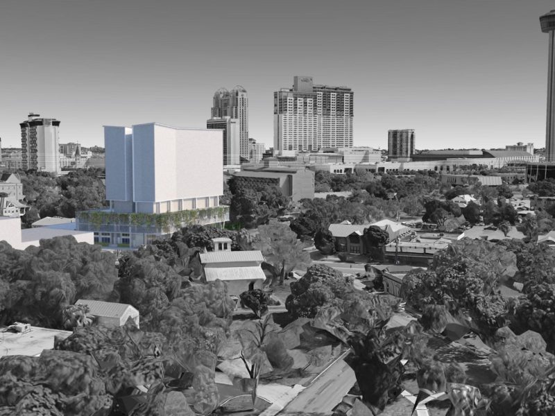 This rendering shows the proposed Durango Apartment building looking northeast with the San Antonio Skyline.