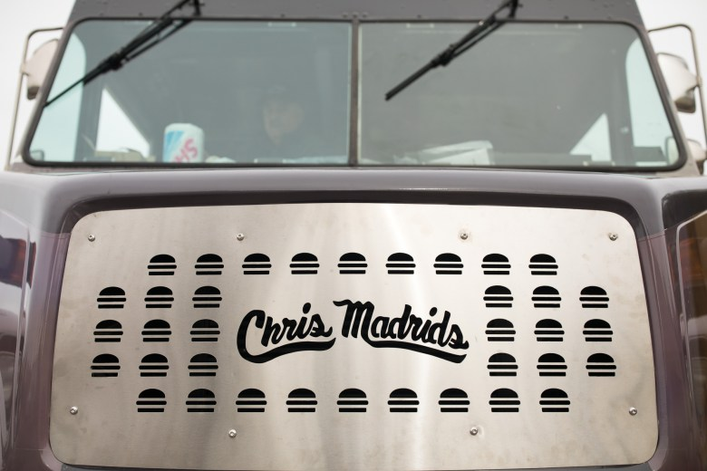 The front grille is custom designed showing the Chris Madrid's logo with surrounding burgers.