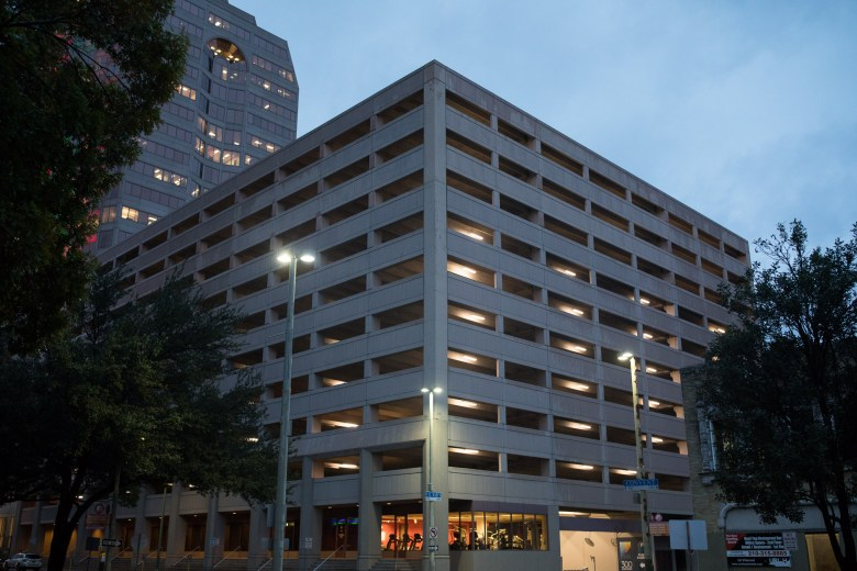 The parking garage beside Bank of America Plaza at 300 Convent.