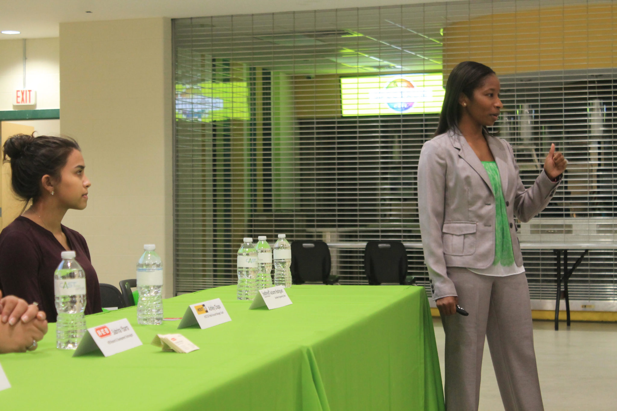 CAST STEM High School Principal Aja Gardner (right) addresses the audience during Wednesday evening's event.