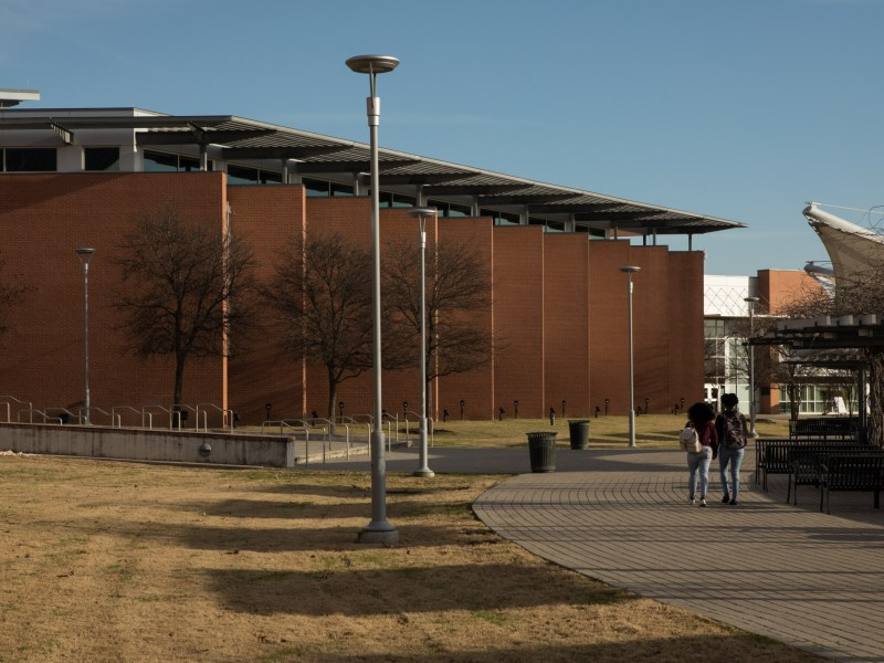 Students walk through the Northeast Lakeview College campus.