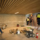 Construction workers finalize the Estela Avery Education Center before the opening of Confluence Park.