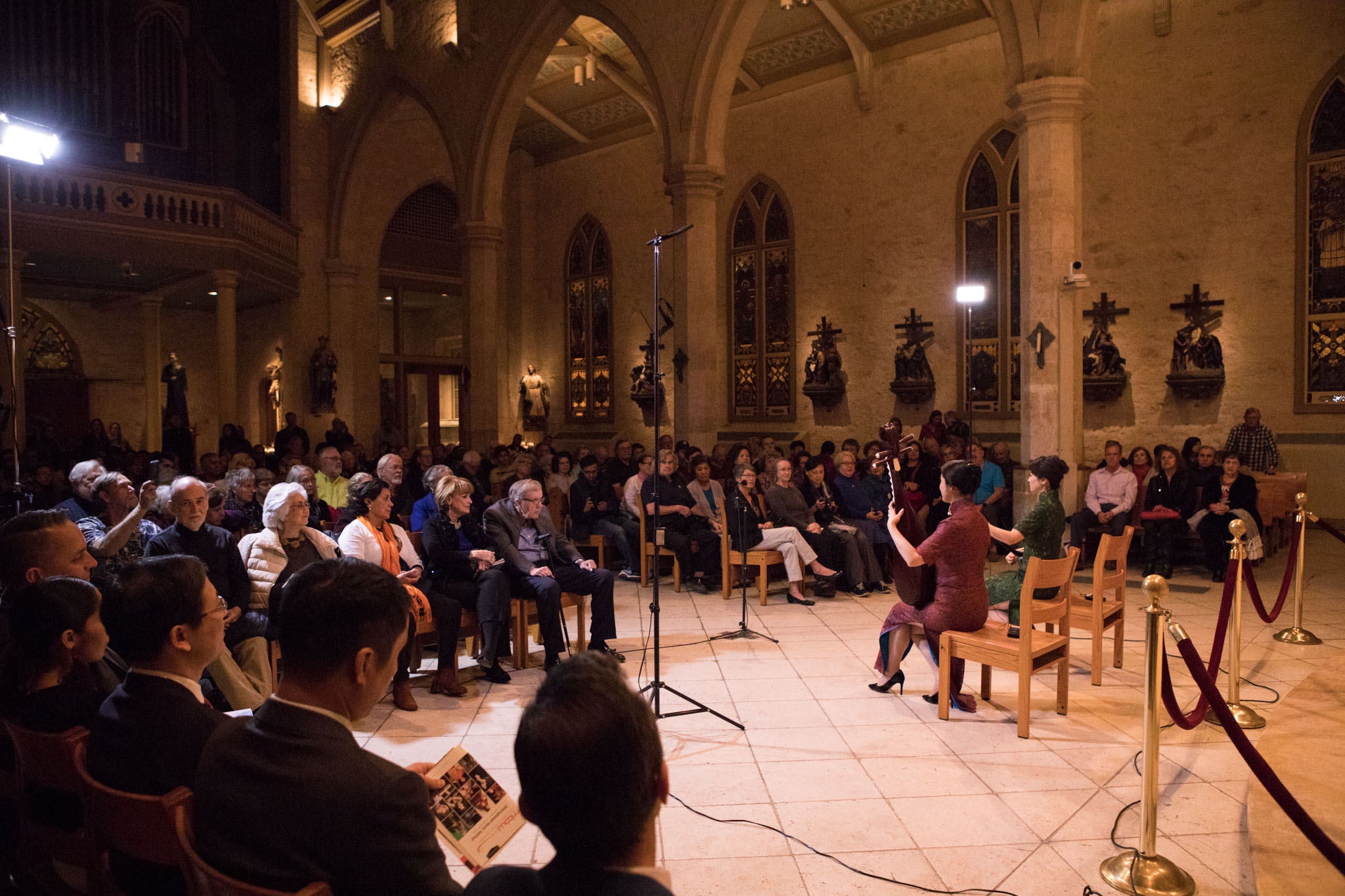 """(From left) Zhang Jianzhen and Chen Yan perform in Musical Bridges Around the World's program """"Gems of China"""" at San Fernando Cathedral."""