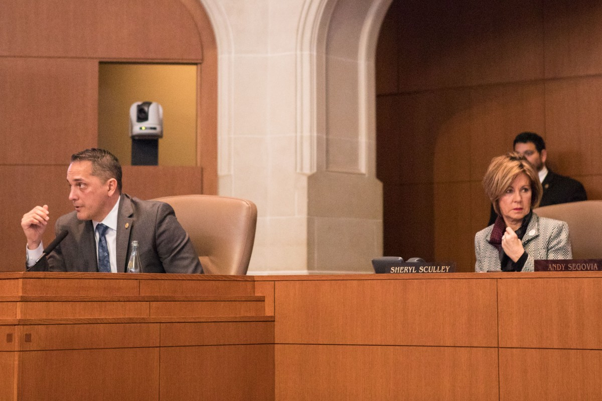 Councilman Greg Brockhouse (D6) and City Manager Sheryl Sculley (right) during a recent City Council meeting.