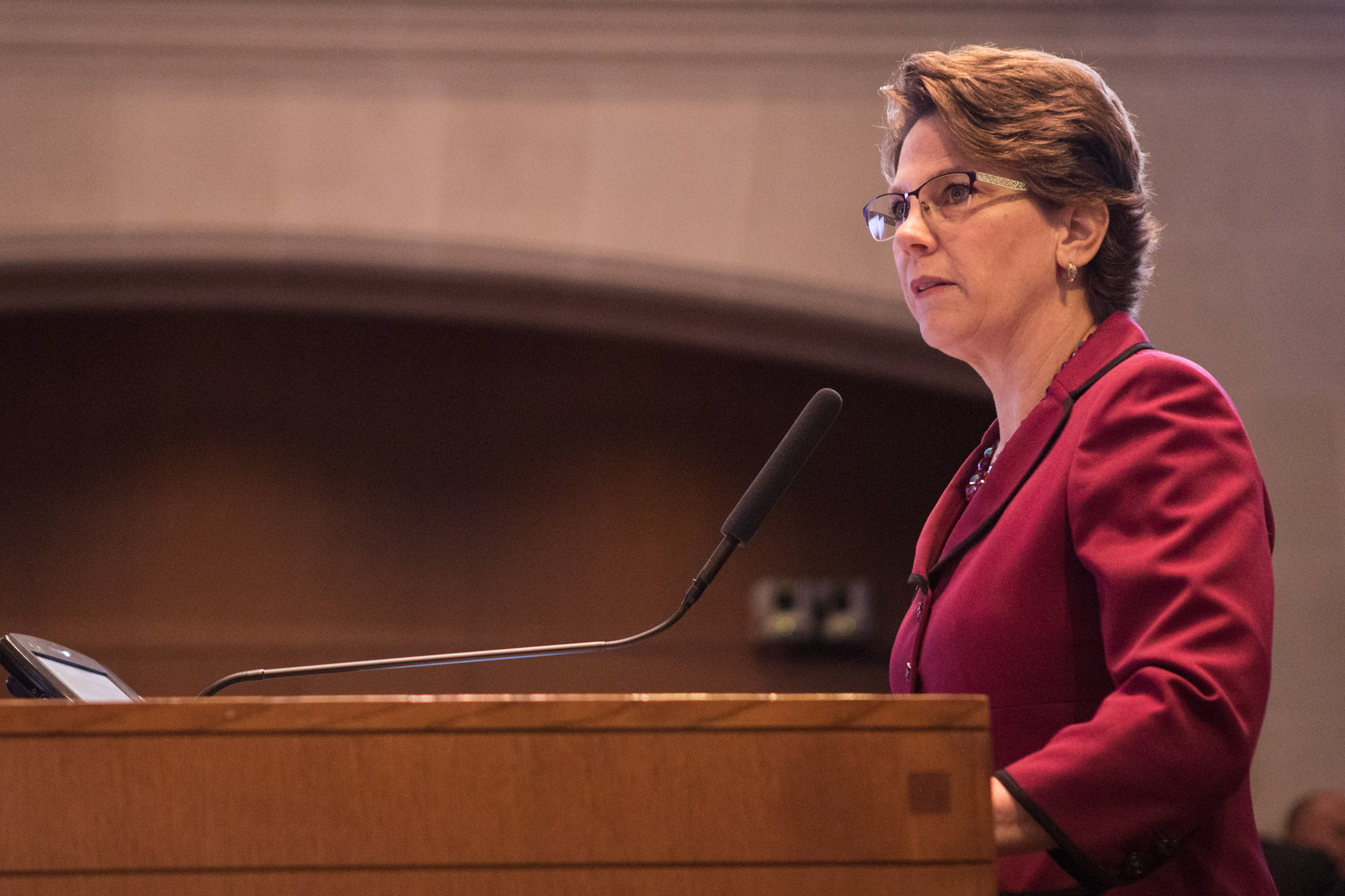 San Antonio Metropolitan Health District Director Colleen Bridger speaks in favor of the Tobacco 21 ordinance to City Council.