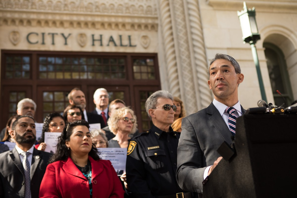 Mayor Ron Nirenberg speaks about Human Trafficking Awareness Day in front of City Hall.