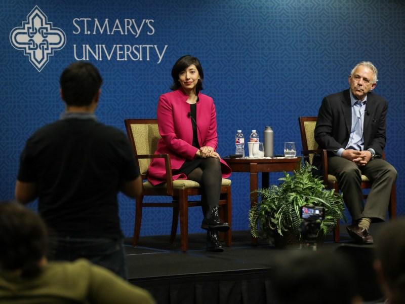 Rivard Report Publisher Robert Rivard interviews Councilwoman Ana Sandoval (D7) at Saint Mary's University.
