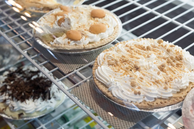 Classic cream pies are available behind the glass counter at Earl Abel's.