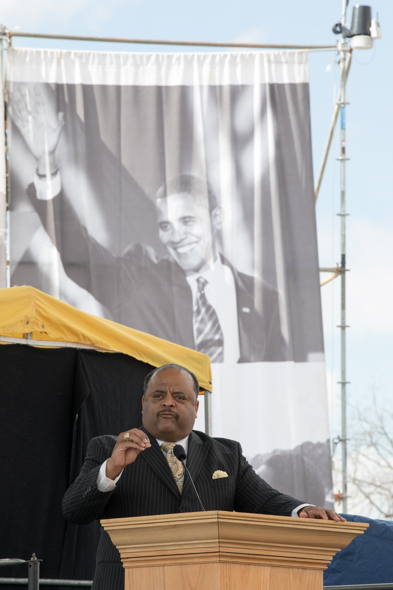 Keynote speaker Roland Martin gives his message to march attendees at Pittman-Sullivan Park.