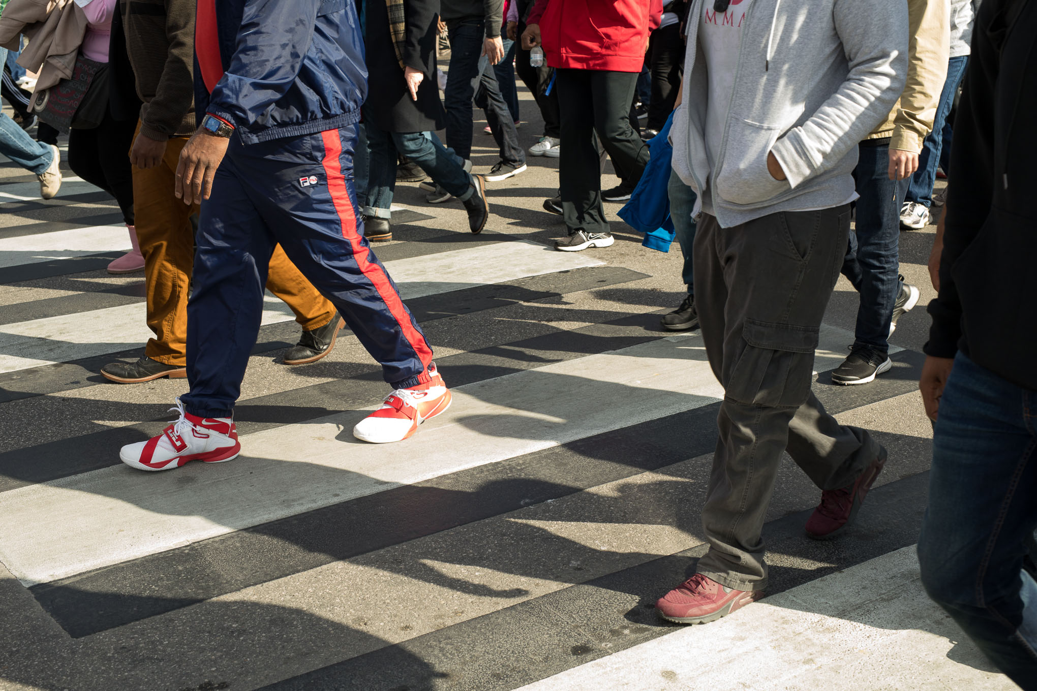 Hundreds of thousands walk on Martin Luther King Drive.