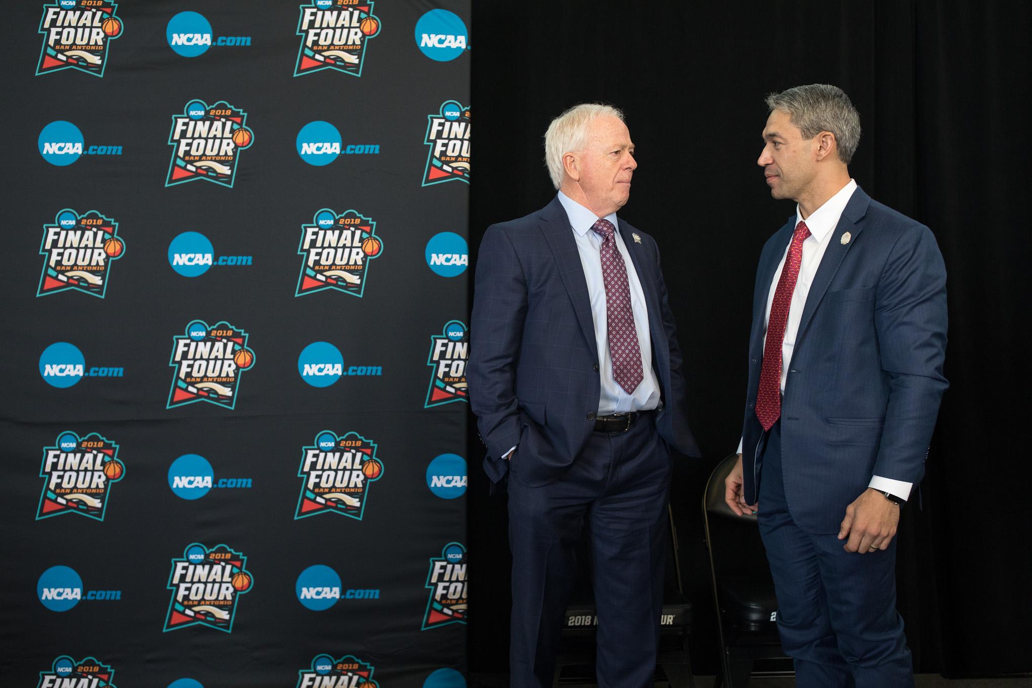 Mayor Ron Nirenberg meets with Bruce Rasmussen, chairman, NCAA Men's Basketball Committee.