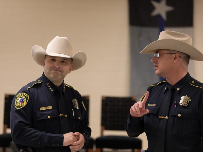 Bexar County Sheriff Javier Salazar speaks with Deputy Chief Roy Fletcher.