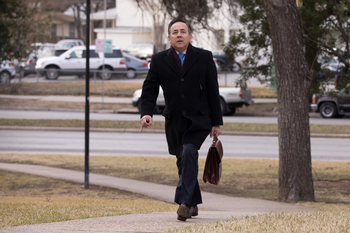 State Senator Carlos Uresti (D-TX) arrives to the US Federal Courthouse in downtown San Antonio for his pre-trial hearing.