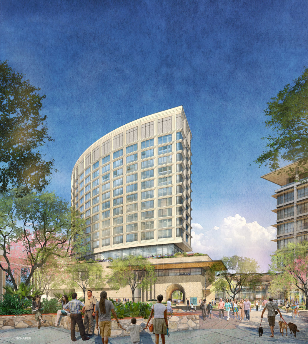 Zachry Hospitality plans to build a hotel, office tower, and urban market next to Hemisfair's Civic Park.