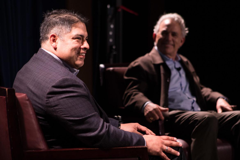(From left) Councilman Manny Peláez (D8) and Rivard Report Publisher Robert Rivard share a joke at UTSA during the Rivard Report Conversations with the Council series.