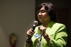 Lupe Valdez speaks at the Democratic Primary Debate for Texas Governor at the San Antonio Public Library.