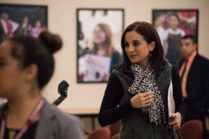 Representative Ina Minjarez (D-124) attends the Edgewood ISD school board meeting regarding the investigation of Emilio Castro.
