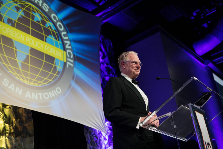 Patrick Tobin introduces the International Citizen of the Year Award recipient Texas House Speaker Joe Straus (R-San Antonio).