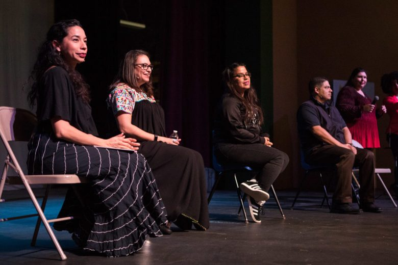 (From left) Xelena González, Diana Lopez, Adriana Garcia, and Councilman Manny Peláez answer questions from the audience at Magik Reader's Theatre.