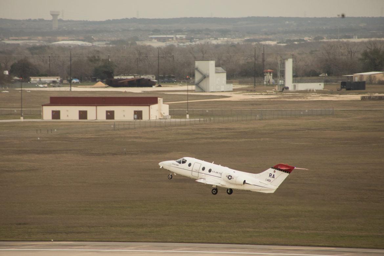 A T-1A Jayhawk takes off at Joint Base San Antonio-Randolph.