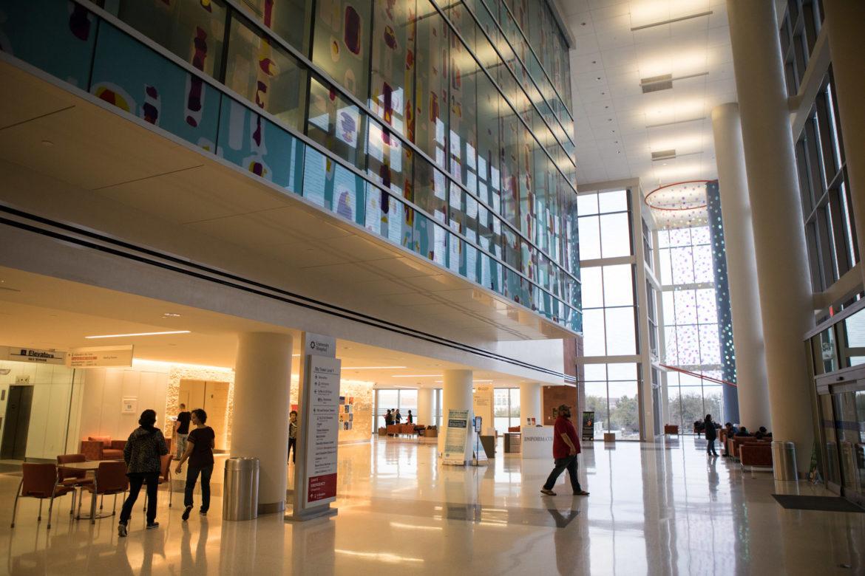 The lobby of University Hospital.