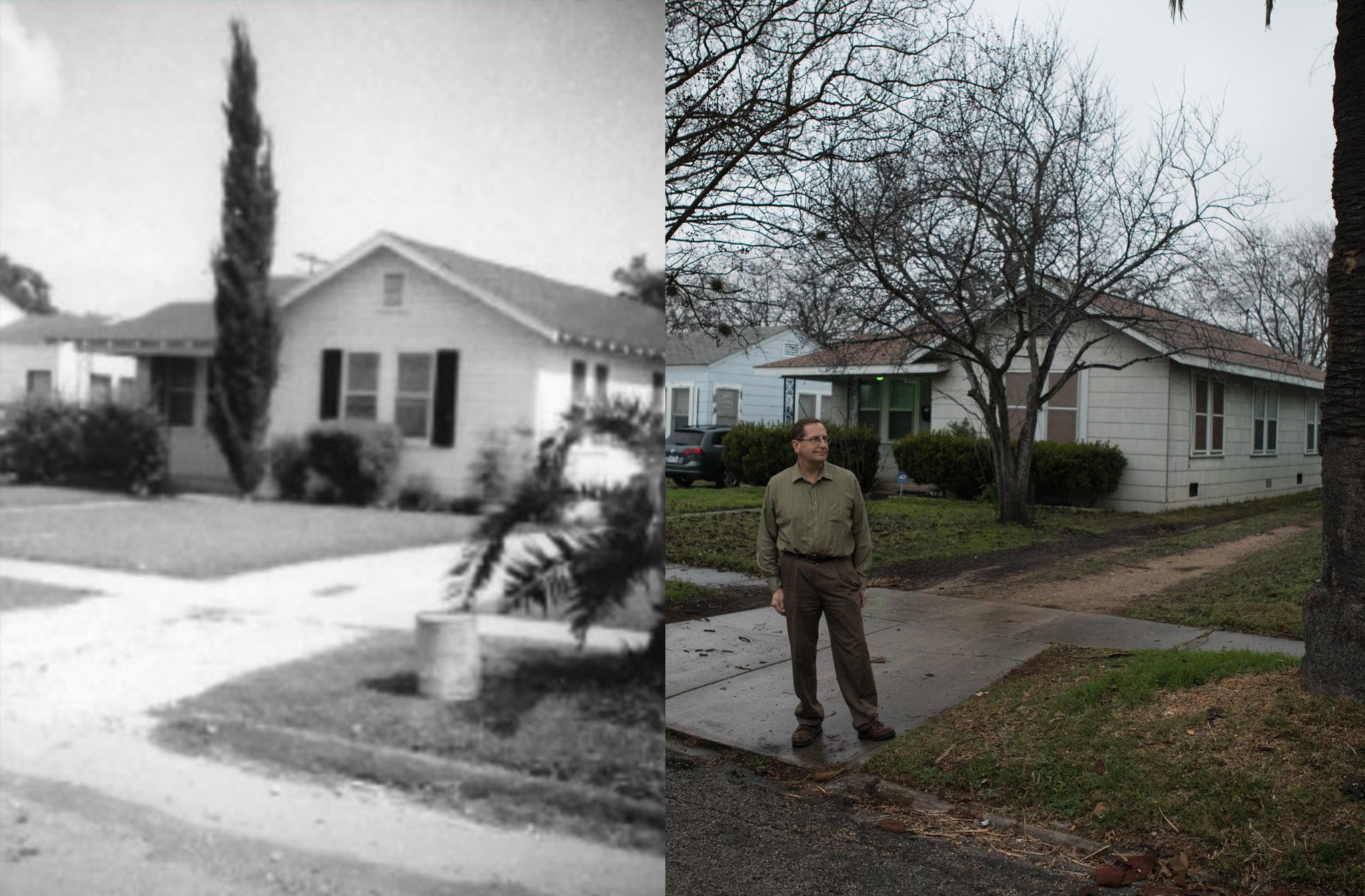 A scanned print shows Gregory Ripps' home as it appeared shortly after his parents bought the house in 1949 (left) and Gregory Ripps stands in front of his home today (right).