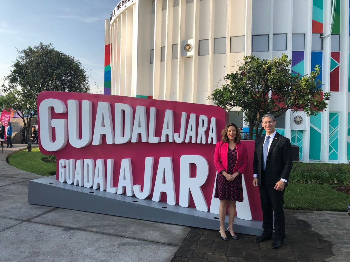 San Antonio Mayor Ron Nirenberg and Councilwoman Shirley Gonzales (D5) pose for a photo during the All Mexico-US Sister Cities Mayors' Summit in Guadalajara, Mexico.