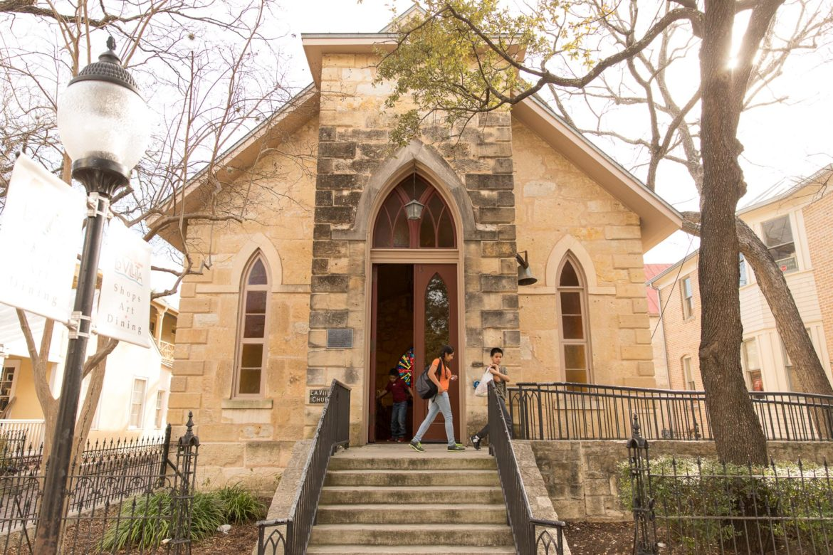 """The chapel at La Villita was once home to an Episcopal congregation, whose church brought Artemisia Bowden to San Antonio to teach black girls home economics."