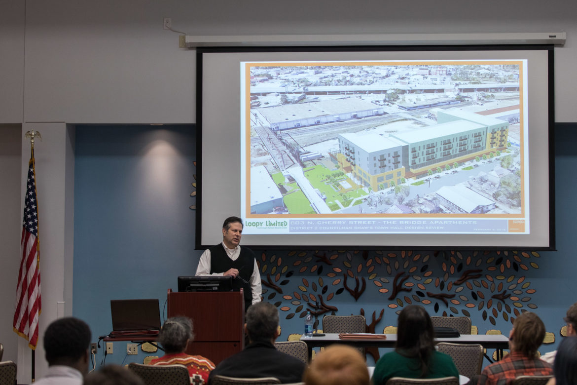 A rendering of the proposed mixed use development at 803 N. Cherry Street.