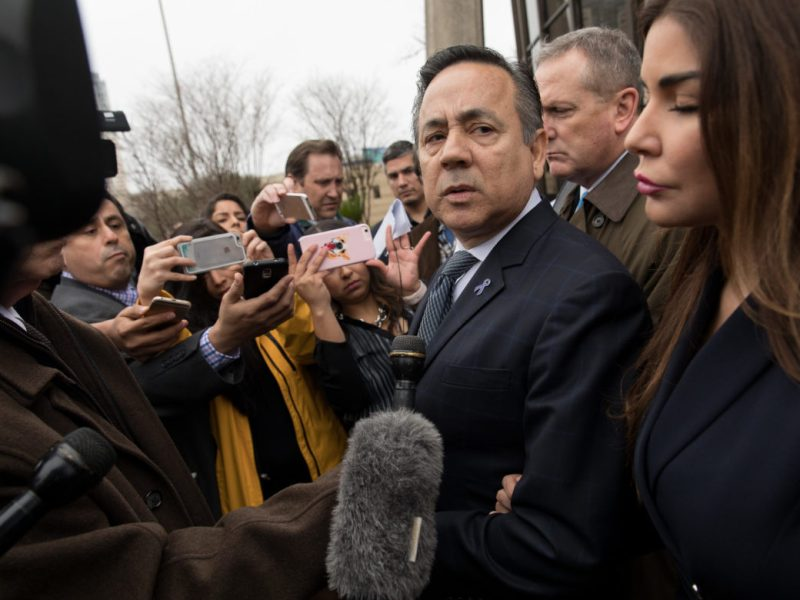 State Senator Carlos Uresti (D-San Antonio) responds to questions from the media following the verdict.