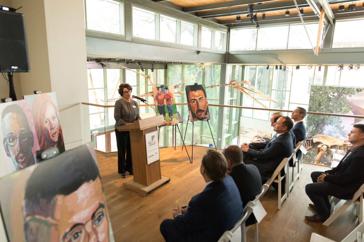 Witte CEO Marise McDermott announces the traveling exhibition by President George W. Bush titled Portraits of Courage.