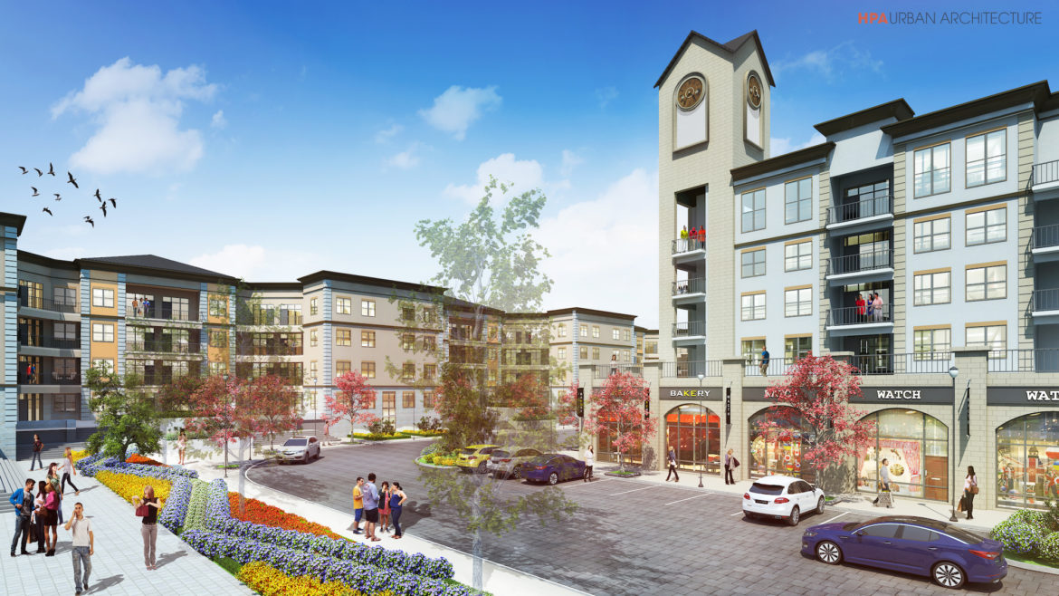 Preliminary renderings of Echo East show an activated residential and retail center.