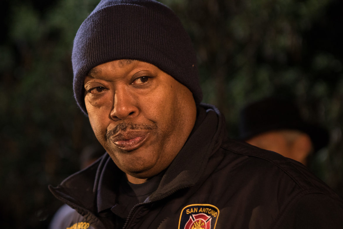 San Antonio Fire Department Chief Charles Hood gives an update on the extraction at Robber Baron cave.