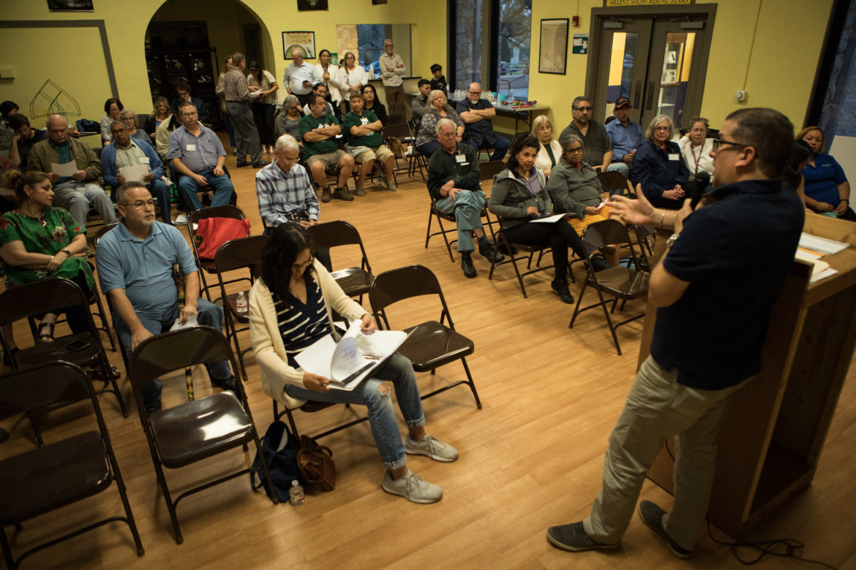 José Martínez speaks at a Highland Park Neighborhood Association meeting at Bode Community Center.