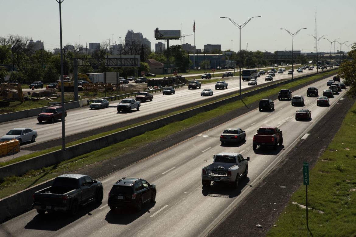 Traffic lines up on Interstate 35.