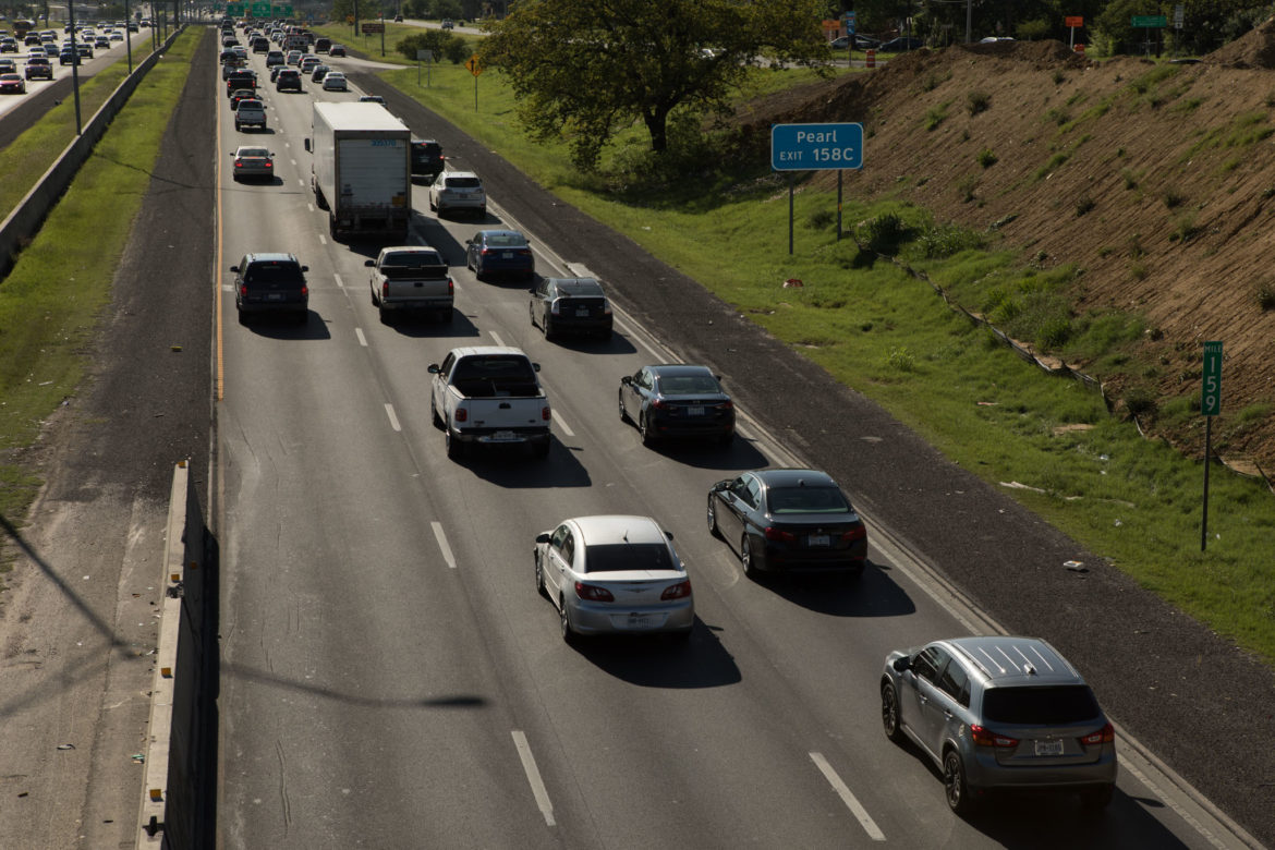 Traffic lines up on Interstate 35 heading south.