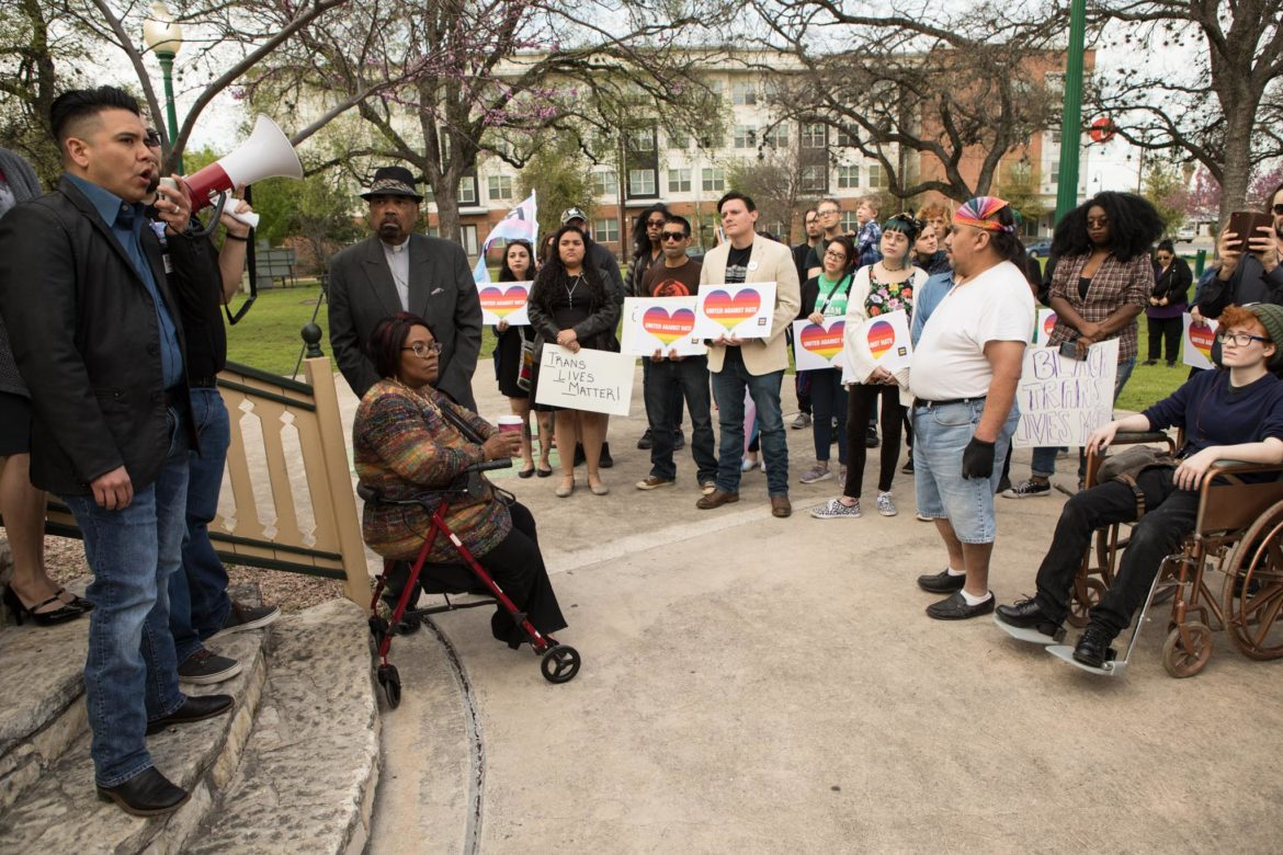 A crowd of around 70 people gathers at a rally at Crockett Park to protest a ruling made in the case of Kenne McFadden.