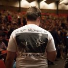An audience member wears a Bernie Sanders inspired shirt at Trinity University.