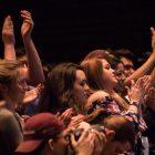 Vermont Senator Bernie Sanders receives a standing ovation at Trinity University.