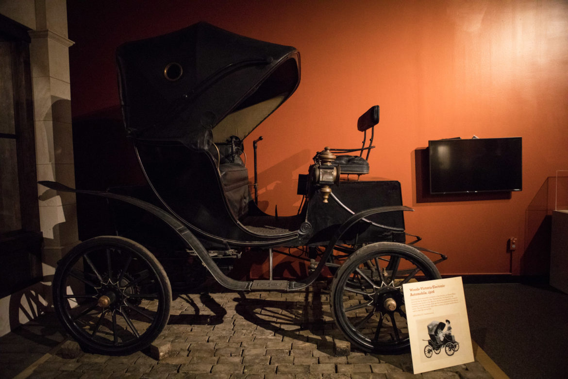 The Woods-Victoria Electonic Automobile is displayed at the Confluence and Culture: 300 Years of San Antonio History exhibit at the Witte Museum.