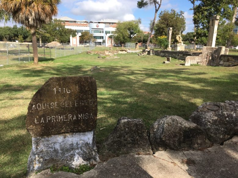 An engraved memorial stone dated 1716 from Miraflores, an estate acquired by Mexican emigré and noted physician Dr. Aureliano Urrutia in 1921.