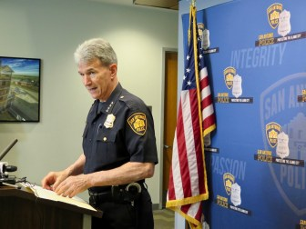 San Antonio Police Department Chief William McManus speaks to reporters at a press conference in San Antonio following an explosion at a FedEx facility in Schertz.