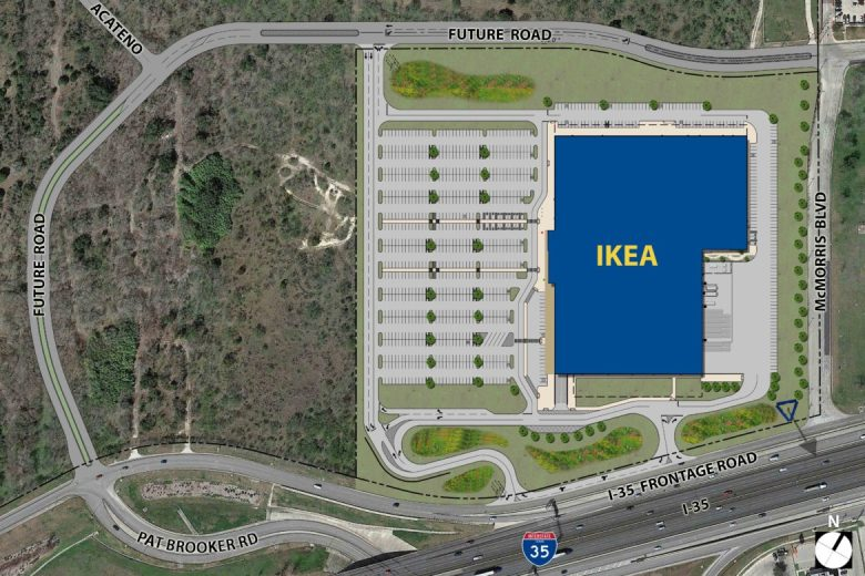 The IKEA footprint near Interstate 35 and Loop 1604.