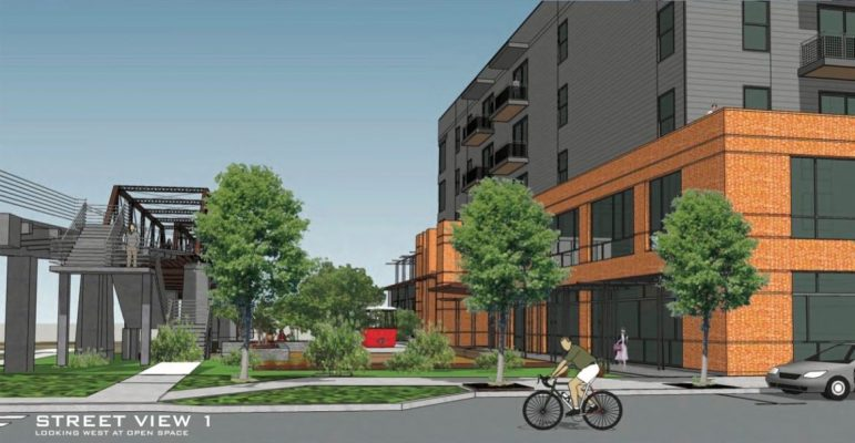This rendering shows the proximity of the Hays Street Bridge to the proposed apartment complex.