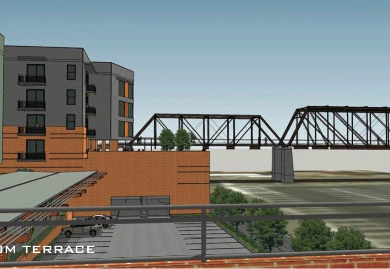 This rendering shows the view of the Hays Street Bridge from a terrace of the apartment complex.